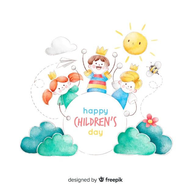 水彩で子供の日の概念 無料ベクター