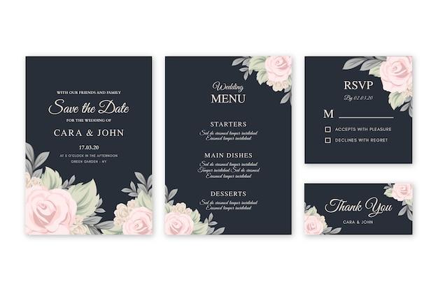 黒の背景テンプレートに花の結婚式の招待状 無料ベクター