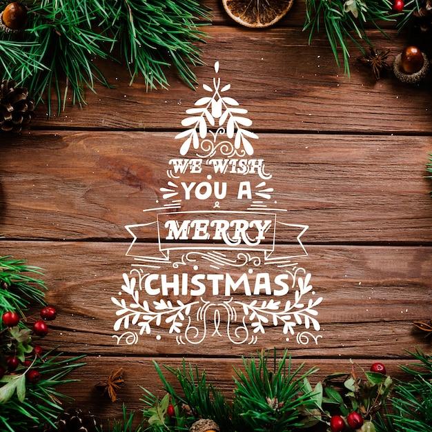 レタリングとクリスマスコンセプト 無料ベクター
