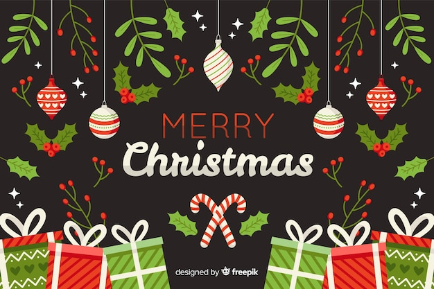 フラットなデザインのクリスマス背景 無料ベクター