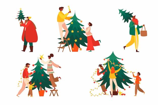 飾りセットでクリスマスツリーを飾る人々 無料ベクター