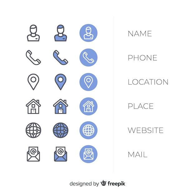 Коллекция иконок визитных карточек Бесплатные векторы