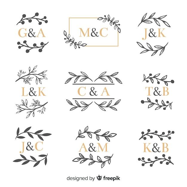 Коллекция декоративных свадебных вензелей Бесплатные векторы