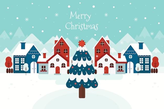 フラットなデザインの背景クリスマスタウン 無料ベクター