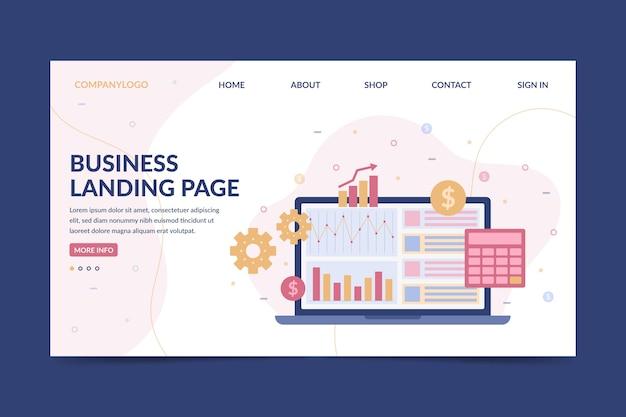 Бизнес целевая страница с ноутбуком Бесплатные векторы