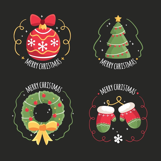 Коллекция рисованной рождественской этикетки Бесплатные векторы