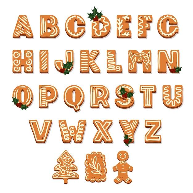 ジンジャーブレッドクリスマスアルファベット 無料ベクター