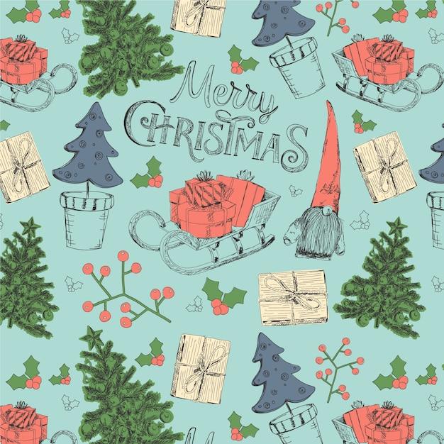 ビンテージクリスマスパターン 無料ベクター
