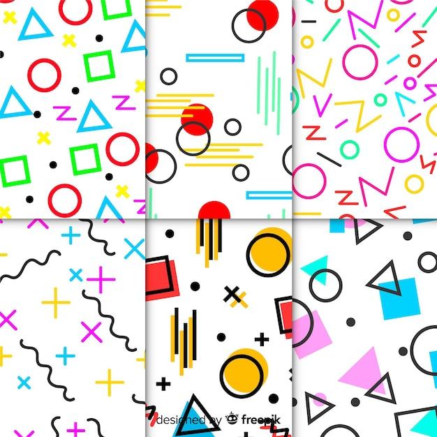 Красочный набор шаблонов мемфис Бесплатные векторы
