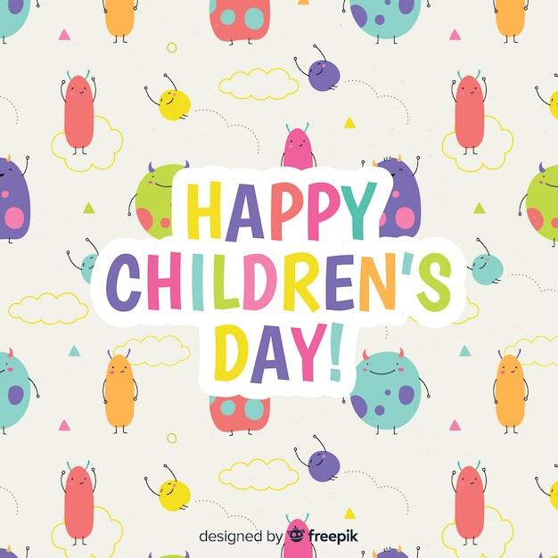 手描きの子供の日の概念 無料ベクター