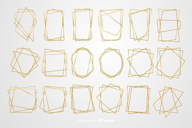 黄金の多角形フレームセット 無料ベクター