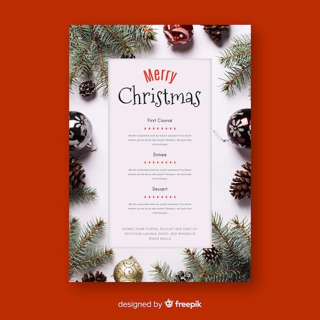 写真付きのクリスマスメニューテンプレート 無料ベクター