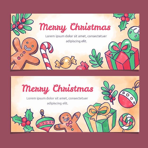 Акварельные рождественские красочные баннеры Бесплатные векторы