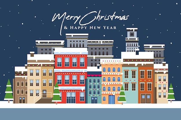Плоский рождественский городок со снегом Бесплатные векторы