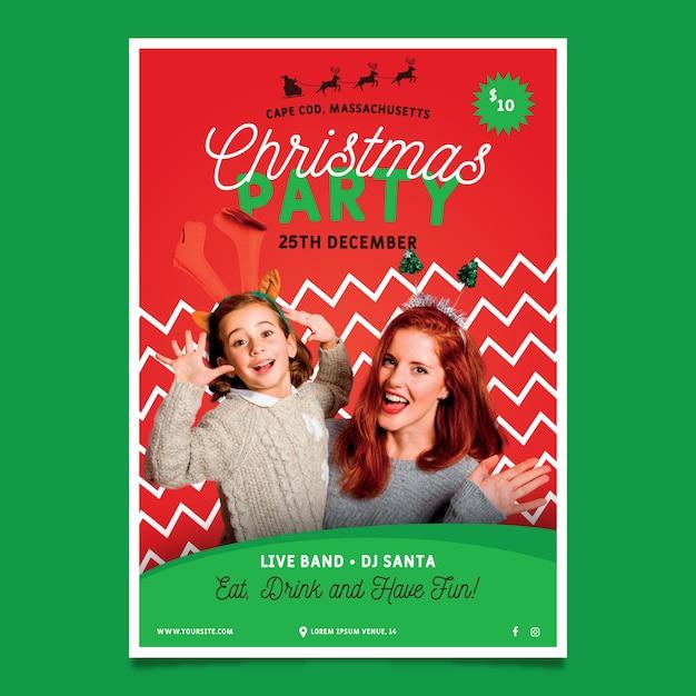 写真付きのクリスマスパーティーのポスター 無料ベクター