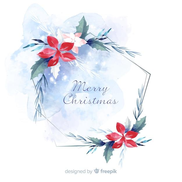 水彩のクリスマスの装飾の壁紙 無料ベクター