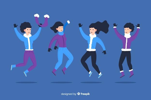 Прыжки веселые друзья фон в зимней одежде Бесплатные векторы