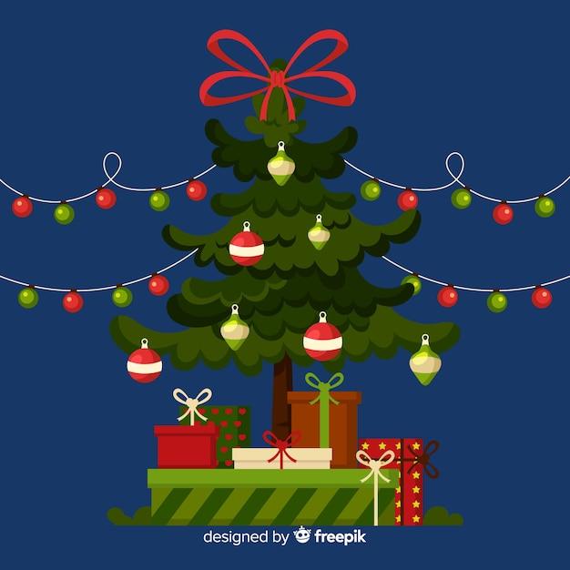 美しいクリスマスツリーのフラットなデザインスタイル 無料ベクター