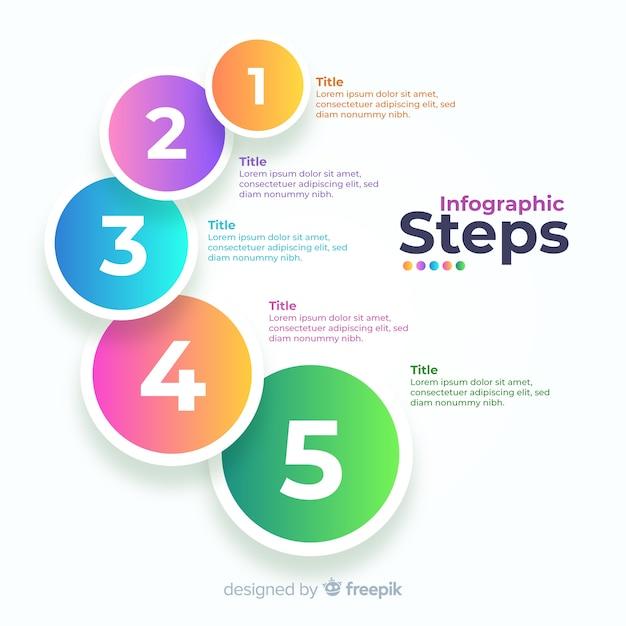 Градиент бизнес инфографики шаги Бесплатные векторы