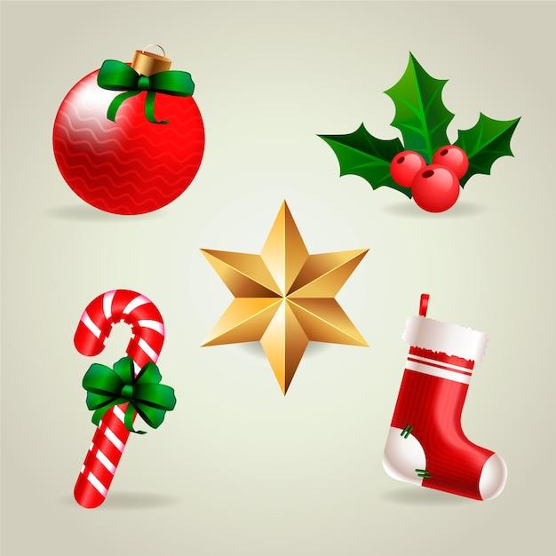 現実的なメリークリスマス要素のコレクション 無料ベクター