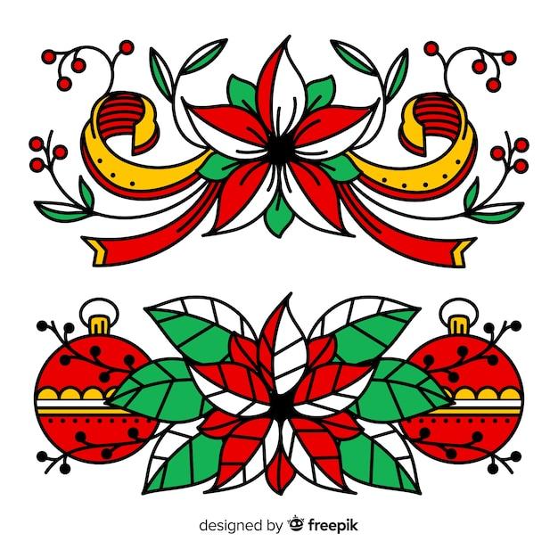 Новогоднее украшение с шарами и цветами Бесплатные векторы