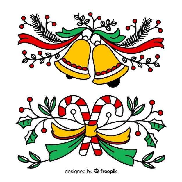 手描きの美しいクリスマスの装飾 無料ベクター