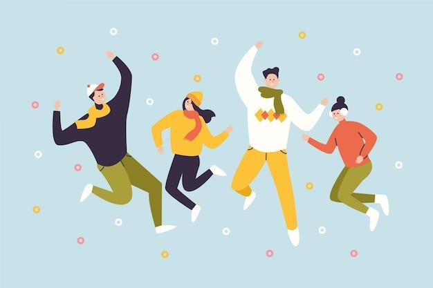 Прыжки молодых счастливых людей в повседневной зимней одежде Бесплатные векторы