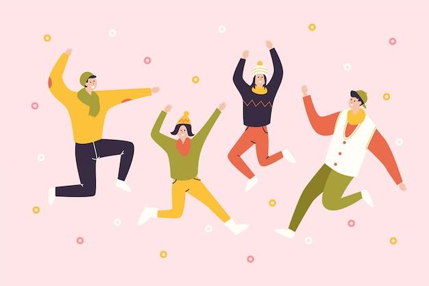 冬の季節の背景を踊る人々 無料ベクター