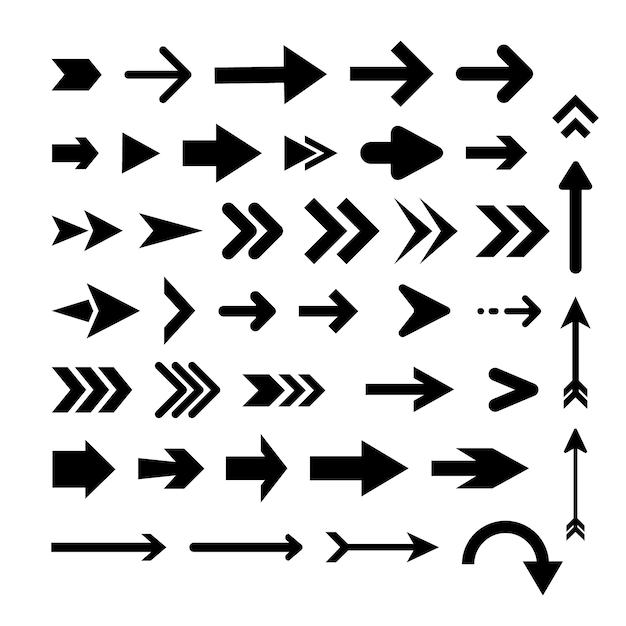 フラットなデザインの矢印コレクション 無料ベクター