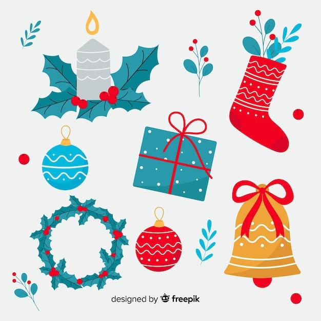 フラットなデザインでカラフルなクリスマスの装飾 無料ベクター