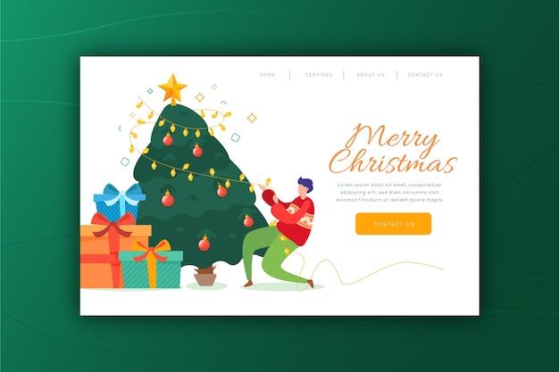 Нарисованная от руки рождественская целевая страница Бесплатные векторы