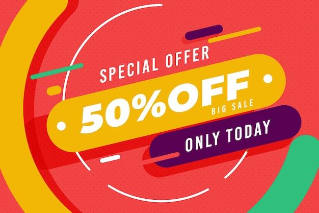 Абстрактный красочный баннер продаж Бесплатные векторы