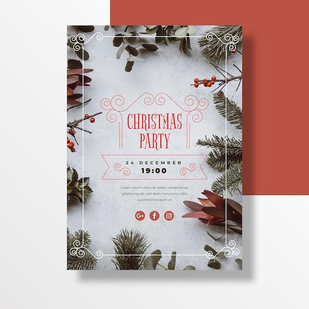 写真のクリスマスパーティーポスターテンプレート 無料ベクター