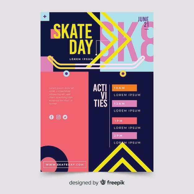 Скейт день спортивный флаер шаблон Бесплатные векторы