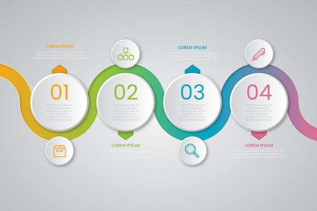 Презентация бизнес градиент временной шкалы инфографики шаблон Бесплатные векторы
