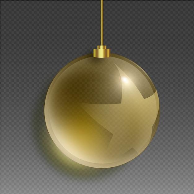 黄金色と星のクリスタルクリスマスボール 無料ベクター