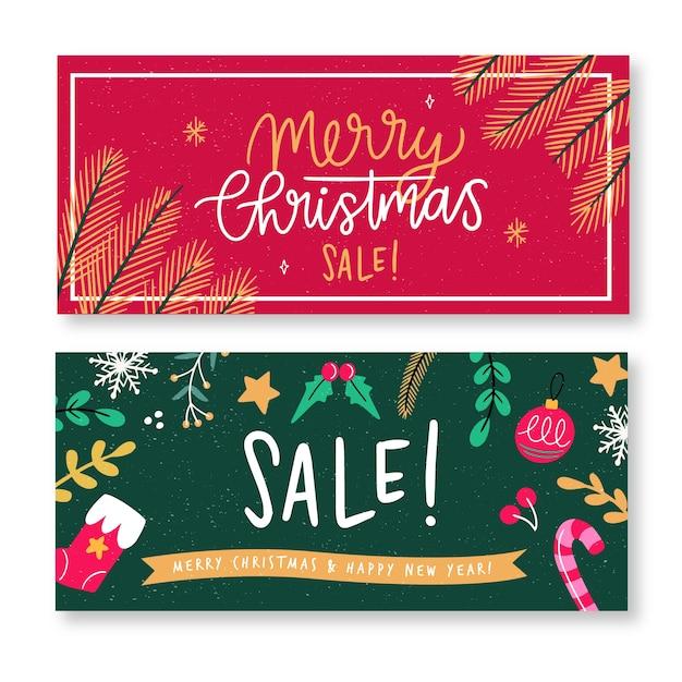 Набор рисованной рождественские баннеры Бесплатные векторы