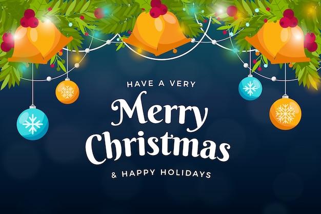 フラットなデザインのクリスマスの壁紙 無料ベクター