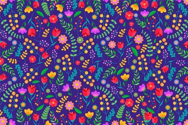 頭が変なカラフルな花の背景 無料ベクター