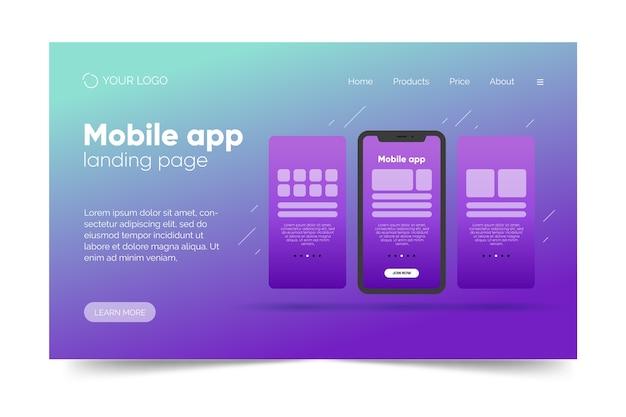 スマートフォンでのグラデーションランディングページテンプレート 無料ベクター