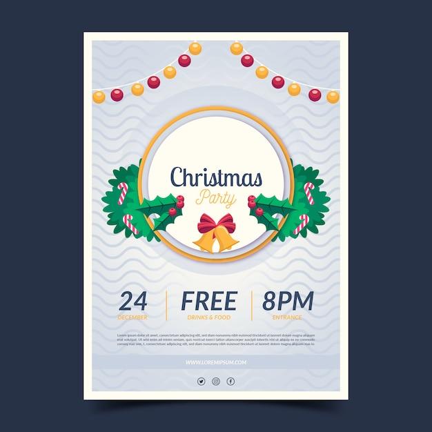 フラットクリスマスパーティーポスター 無料ベクター