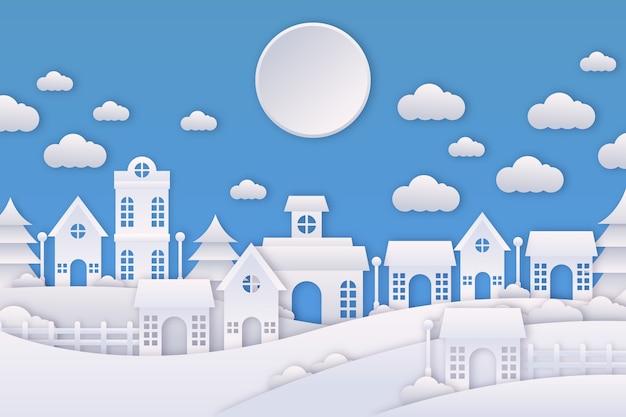 Рождественский город дизайн вырезки из бумаги Бесплатные векторы