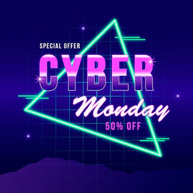 Концепция ретро футуристический кибер понедельник Бесплатные векторы