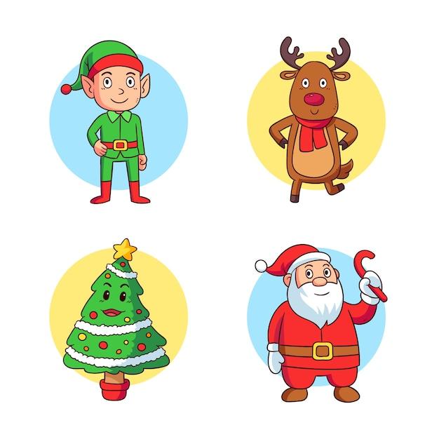 Набор рисованной рождественские символы Бесплатные векторы