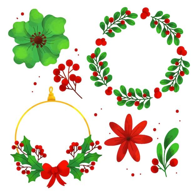 Набор акварельных рождественских цветов и венков Бесплатные векторы