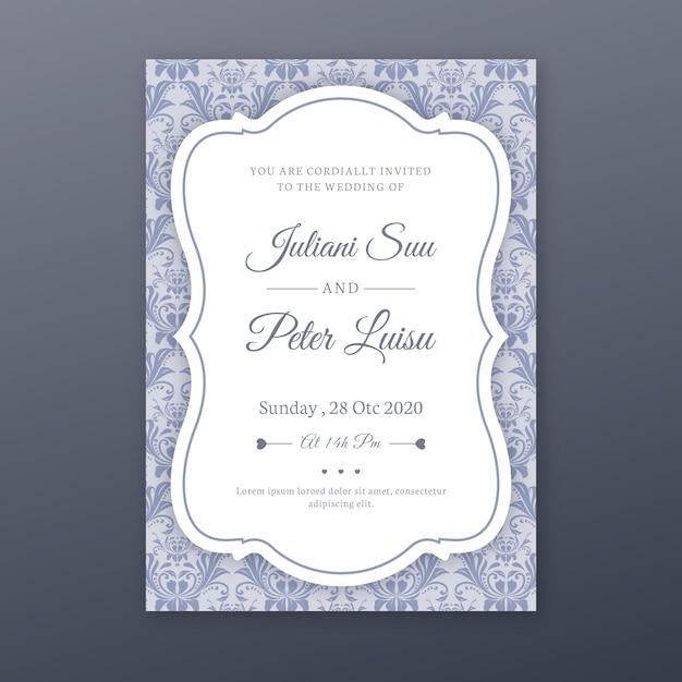 エレガントなダマスクテンプレート結婚式招待状 無料ベクター
