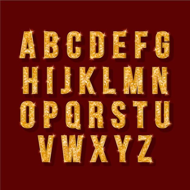黄金の輝くイラストクリスマスアルファベット 無料ベクター
