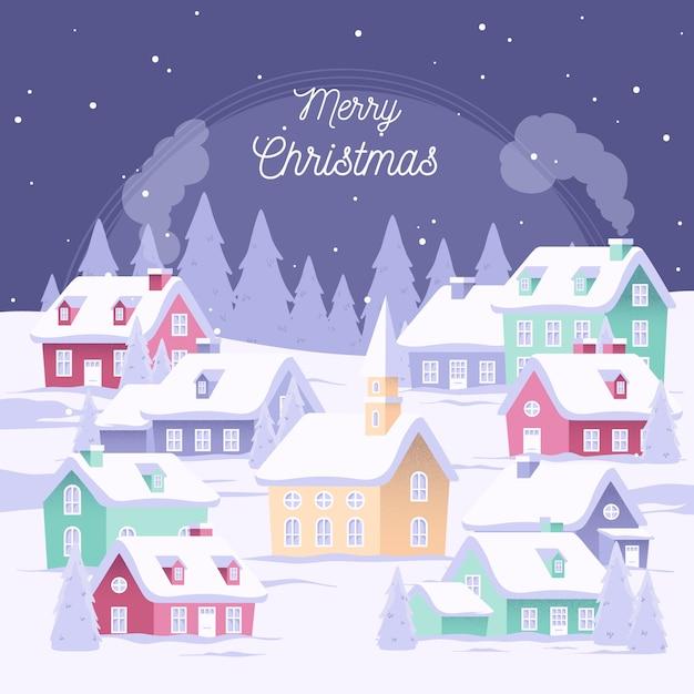 Плоский дизайн рождественский городок обои Бесплатные векторы