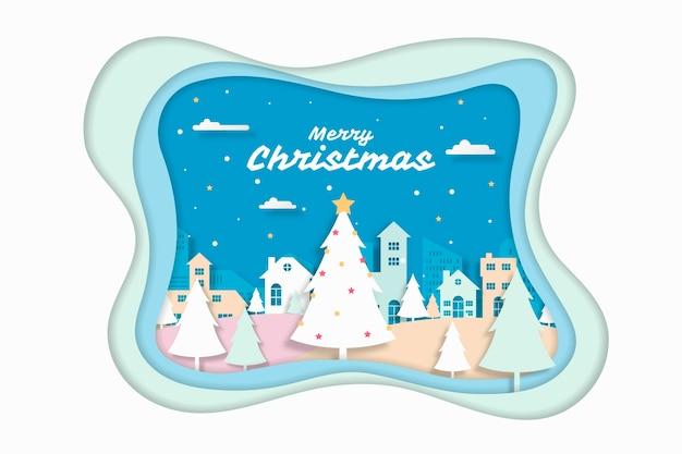 Рождественский фон в стиле бумаги Бесплатные векторы