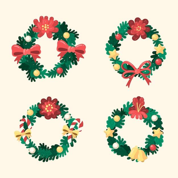 Ручной обращается рождественские цветы и венок Бесплатные векторы